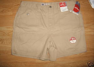 Ladies Faded Glory Sandy beige Cargo SHORTS Sz 18 Cotton Metal Button Pocket NEW
