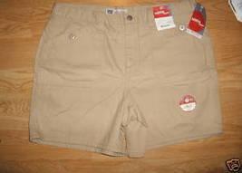 Ladies Faded Glory Sandy beige Cargo SHORTS Sz 18 Cotton Metal Button Po... - $8.99