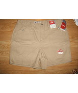 Ladies Faded Glory Sandy beige Cargo SHORTS Sz 18 Cotton Metal Button Po... - $8.99