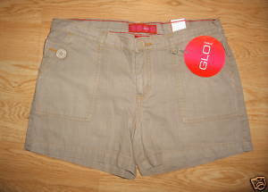 Ladies Junior GLO daisy duke SHORTS Sz 11 Coffee Latte Cotton Button Pocket NEW
