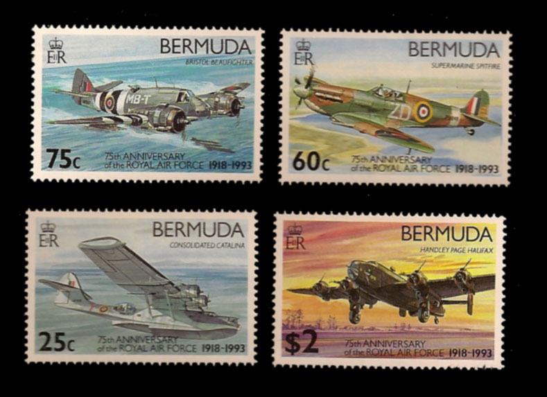 Bermuda Unfranked Stamp Set - 75th Anniversary of the RAF