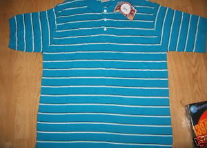 Men Steve Barry's Aqua blue white Stripe Polo Authentic Athletic shirt Sz XL New