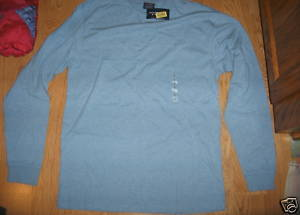 Men Roundtree Yorke Baby Blue Long Sleeve Crew Neck Polo T Shirt Size S Cotton