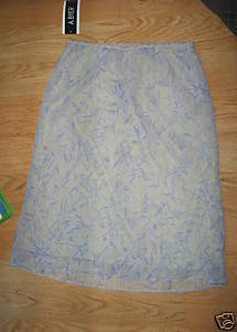 Ladies A BYER Sheer Delight Skirt Size M JR NEW Light Green Blue Purple flowers
