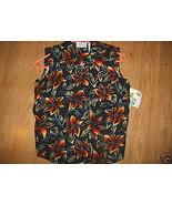Ladies LIZ CLAIBORNE Lizwear jeans Printed Camp Black Bright Flowers Shi... - $14.99