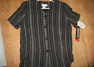 Ladies BRIGGS New York Black Flower Striped Short Sleeve Shirt Blouse M NEW Top