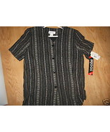 Ladies BRIGGS New York Black Flower Striped Short Sleeve Shirt Blouse M ... - $9.99