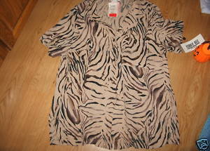 Ladies Jungle Tiger Print SS Silky Soft Blouse Top Taupe Robbie Bee Size 16W NEW