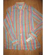 Ladies Northern Isles Sheer Stretch Tutti Fruity Stripe LS Dress Shirt N... - $9.99