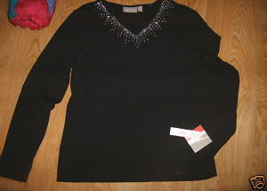 Ladies croft barrow Stretch Black V Neck Shirt Top Rhinestone Bling Trim M NEW