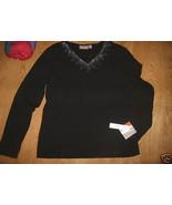 Ladies croft barrow Stretch Black V Neck Shirt Top Rhinestone Bling Trim... - $12.99