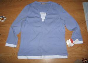 Ladies croft Barrow Mock double Shirt Lace Blue 3/4 Sleeve Stretch M Sequin NEW