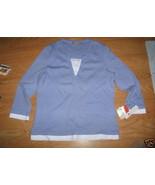 Ladies croft Barrow Mock double Shirt Lace Blue 3/4 Sleeve Stretch M Seq... - $12.99