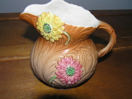 Vintage Small Staffordshire Handpainted Yellow Pink Dahlia Flower Brown Pitcher - $27.74