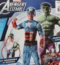 Marvel Avengers 2-In-1 Muscle Chest Hulk/Captain America Deluxe Costume ... - $37.39