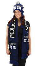 Doctor Who Knitted Blue Tardis Design Scarf and Pom Beanie Hat Set UNUSED - $24.18