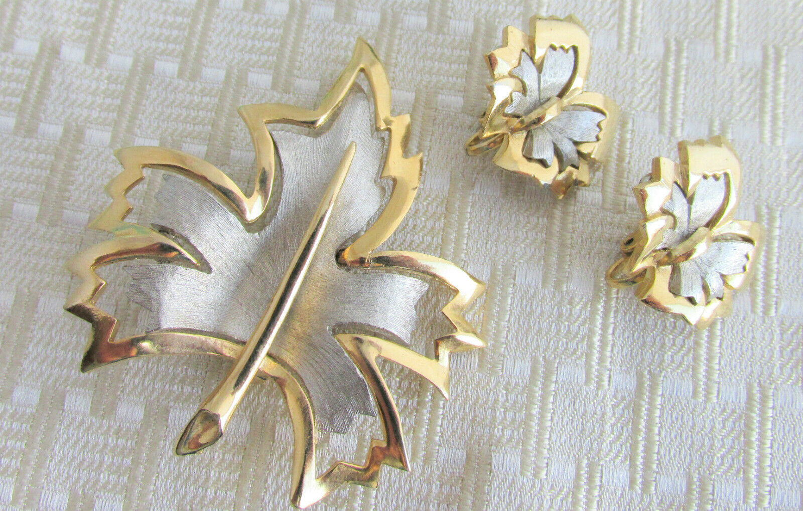 Vintage Striking 3D Gold & Silver Plated Leaf Pin Fluttering Butterfly Earrings