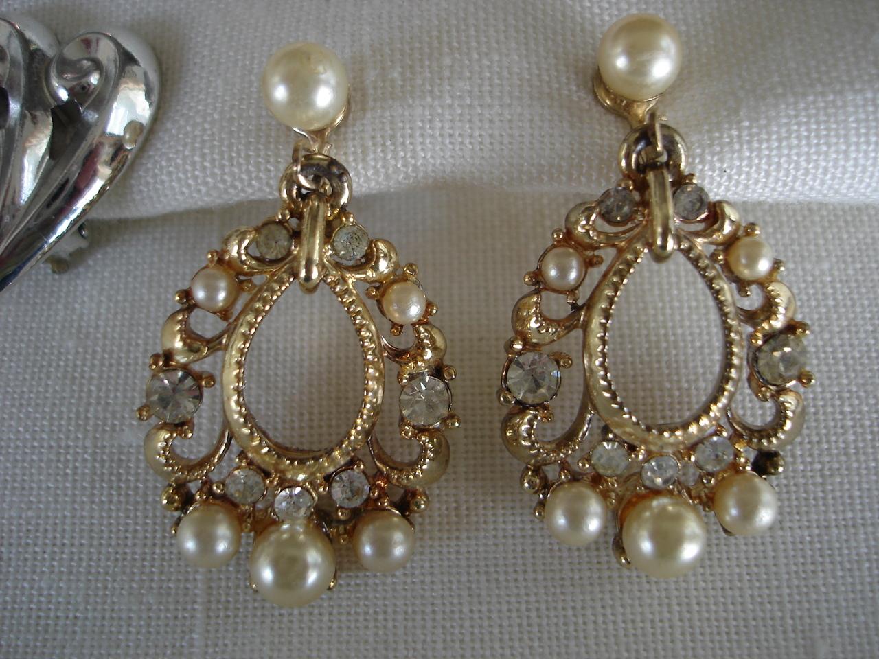 Vintage Star Silvtn Clip & Gldtn SB Earrings, 2 Pair