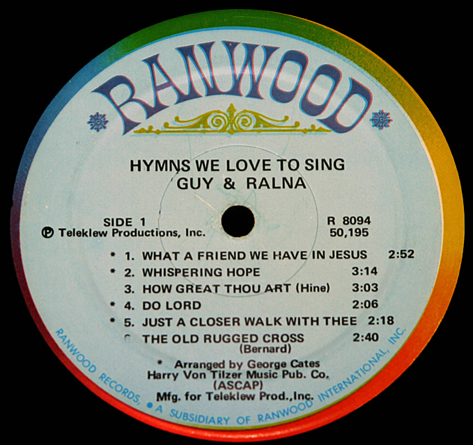 """Guy & Ralna  """"Hymns We Love To Sing""""   Ranwood Records R8094  LP"""