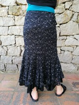 Black & Silver Floral Lace Sequin Long Vintage Skirt Size Small - $46.14