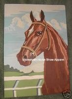 Vintage Paint By Number PBN Brown Horse Head Signed