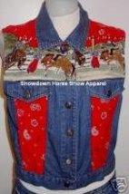 Denim Bandana Bronco Rodeo Western Horse Show Vest M - $38.00