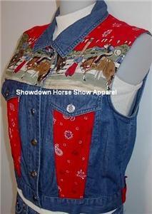 Denim Bandana Bronco Rodeo Western Horse Show Vest M