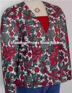 Burgandy Green Floral Western Horse Show Hobby Jacket M