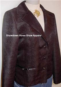 Black Embossed Western Halter Horse Show Hobby Jacket M