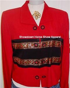 Red Blk Rail Western Horse Show Apparel Hobby Jacket 8