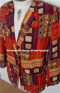 Orange Ect Western Horse Show Hobby Jacket Plus Size 16