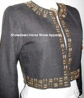 Black Gold Studs Rail Western Horse Show Hobby Jacket 4