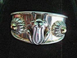 Barry Kieselstein Cord Frog & Flowers Cuff Bracelet Sterling & 14K Gold Orig Box image 3