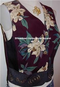 Plum Floral Western Halter Horse Show Hobby Vest 10