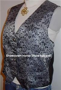 Silver Black Western Halter Horse Show Hobby Vest M