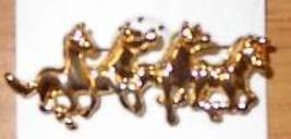 4 Running Horses Horse Show Jewelry Pin Brooch SHOWTIME - $15.00