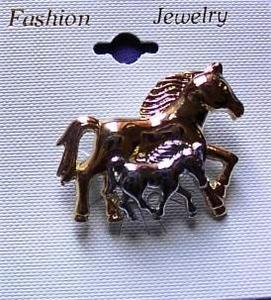 Horse & Foal Horse Show Jewelry Pin Brooch SHOWTIME!