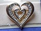 Double Heart Rhinestone Horse Show Jewelry Pin Brooch