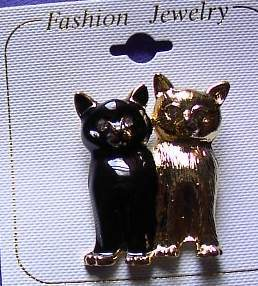 Two Cats Enamel Horse Show Jewelry Pin Brooch SHOWTIME!