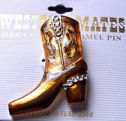 Brown Boot Horse Show Jewelry Pin Brooch SHOWTIME!