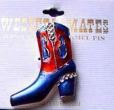 Blue & Red Boot Horse Show Jewelry Pin Brooch SHOWTIME! - $15.00
