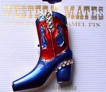 Blue & Red Boot Horse Show Jewelry Pin Brooch SHOWTIME!