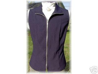 Navy Zippered Halter Rail Show Vest Plus Size 14 SHOW!