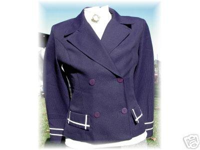 Western Navy & White Rail Halter Horse Show Jacket LG