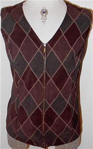 BrownTan Green Rail Halter Horse Show Vest Plus Size 1X