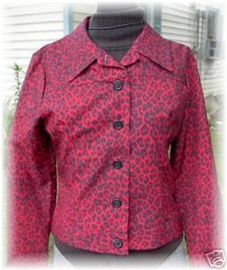 Red Black Leopard Print Rail Halter Horse Show Jacket M
