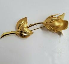 """Vintage Brushed  Gold Tone Long-Stemmed Rose Brooch Pin 3.25"""" Long. - $8.83"""