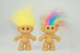 "Vintage Russ TROLL Dolls Pair 1 Yellow Hair 1 Rainbow Hair 3""  Tall Nude - $14.03"