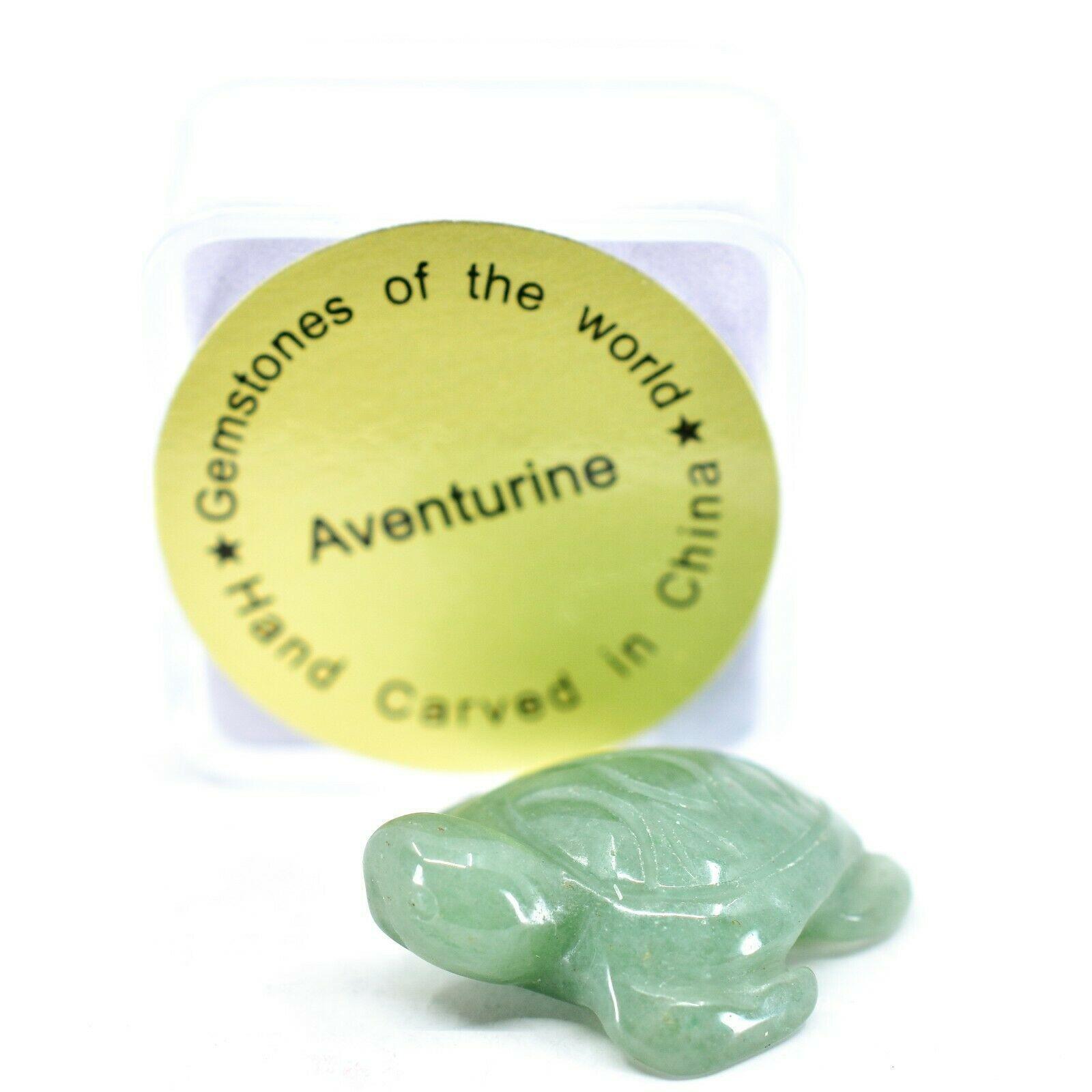 Aventurine Quartz Gemstone Miniature Sea Turtle Figurine Hand Carved in China