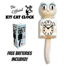 """Blanc Femme Kit Chat Horloge 15.5 """" Gratuit Batterie Fait en USA Officiel - £48.34 GBP"""